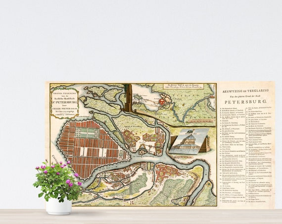 St. Petersburg 1743 City Map Poster on Paper. Different Sizes. Russia Historical City Map. Vintage City Map. Antique Map. St. Petersburg Map