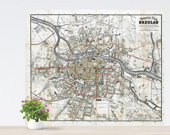 Breslau 1891 City Map Poster on Paper. Poland Map, Historical City Map. Vintage City Map. Antique Map. Breslau, Wrocław Map.