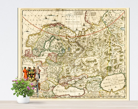 Vintage Historical Map of Russia on Paper. Antique Map. Russland. Russiae. Tartaria. Vintage Poster European Russia Map Unframed