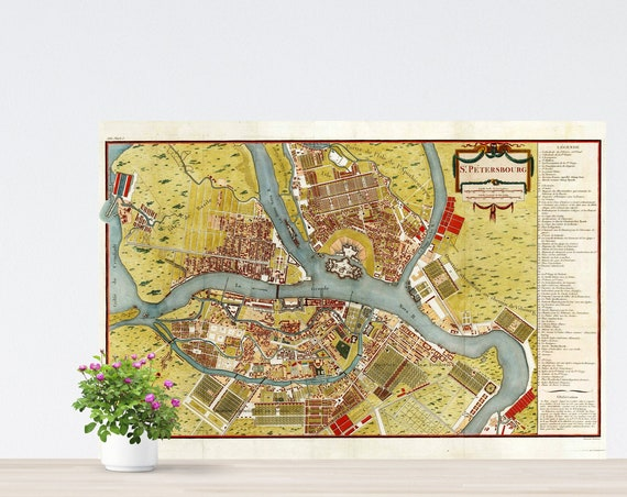 St. Petersburg 1790 City Map Poster on Paper. Unframed Map. Russia Historical City Map. Vintage City Map. Antique Map. Peterburg Map