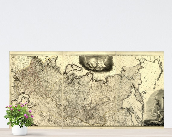 Vintage Russia Map on Paper 1786, Imperial Russia Map, Historical Russia Poster, Map of Eastern Europe, Tsarist Russia Map Unframed