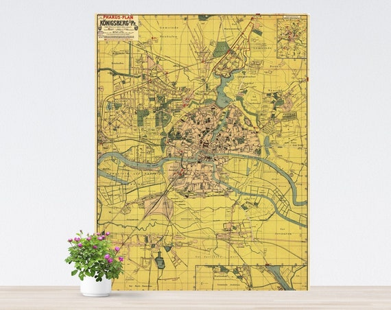 Königsberg / Kaliningrad Vintage City on Paper. Antique City Map. Vintage City Poster Unframed.