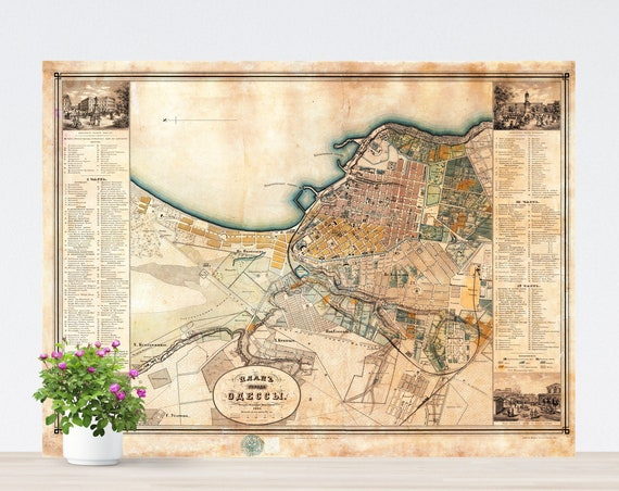Odessa Vintage City Map on Paper 1864. Russia Historical City Map. Vintage City Map. Antique Map. Odessa Map. Ukraine Vintage Map. Poster