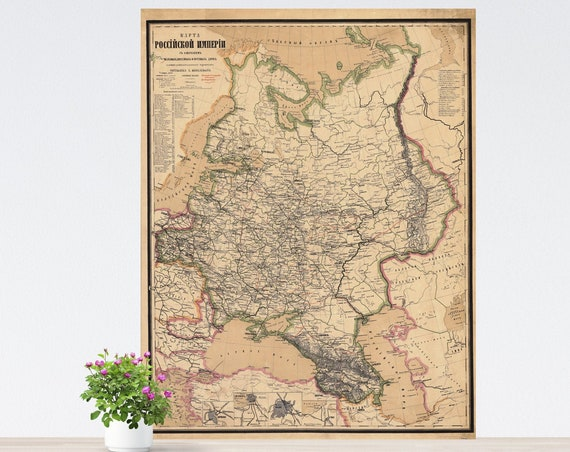 Vintage European Russia Map on Paper, Imperial Russia Map, Historical Russia Poster, Vintage Map of Eastern Europe, Tsarist Russia Map