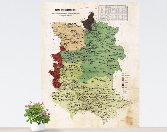 Vintage Map of Western Russia on Paper, Ethnographic Map of Western Russia Poster, Historical Russia Poster, Map of Eastern Europe. Unframed