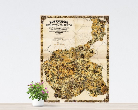 Pictorial Map of Kingdom of Poland on Paper, Russian Empire Times Poster, Poland Map, Lively Eastern Europe Map