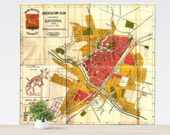 Grodno/ Hrodna Vintage City Map Poster on Paper. Russia Historical City Map. Vintage City Map. Poland Antique Map. Unframed