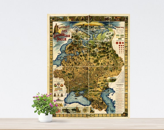 Vintage Pictorial Map of European Russia 1903, Historical Russia Poster, Vintage Map of Eastern Europe, Tsarist Russia Map