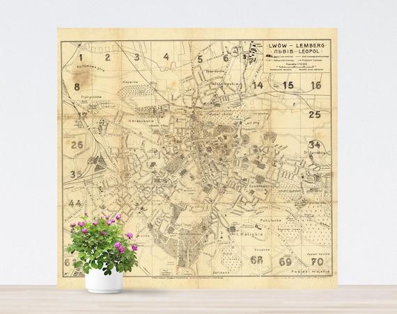 Lwow / Lemberg / Lviv / Leopol Vintage City Map on Paper, Historical City Map, Antique City Map, City Map, Lviv Vintage Ukraine Map Poster