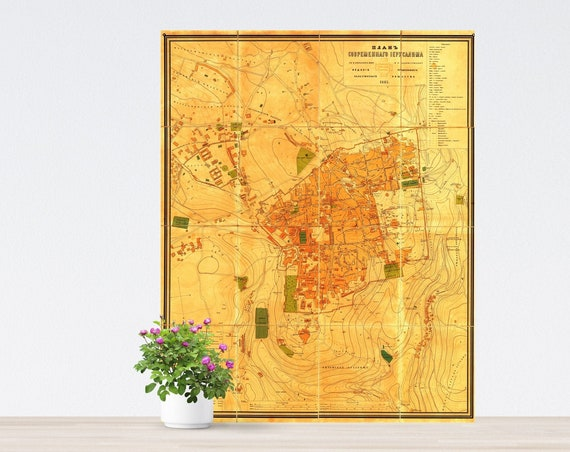 Jerusalem Vintage City Map on Paper 1885. Antique Map. Russia Historical City Map. Poster Map. Jerusalem Map.