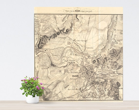 Vilnius / Wilna / Vilnja / Wilno / Vilno Vintage City Map on Paper 1861. Antique Map. Russia Historical City Map. Poster Map. Vilnius Area
