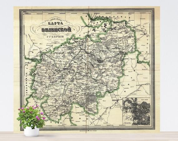 Vilnius / Wilna / Vilnja / Wilno / Vilno Vintage City Map on Paper 1905. Antique Map. Russia Historical City Map. Poster Map. Vilnius Area