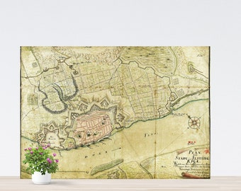 Vintage Ryga / Riga City Map on Paper. Antique Map on Paper.