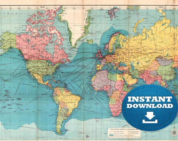 Digital Lively Blue Oceans Colorful Antique World Map Printable Download. Vintage Yellow World Map to Print on Paper. Poster Map