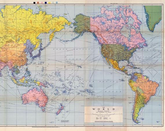 Digital Vintage Political World Map 1944. Instant Download. Historical World Map. Printable Map. Soviet Union. USSR. Antique World Map.