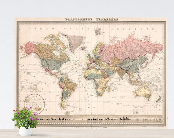 Pastel Pink World Map on Paper, Colorful World Map Art, Vintage Flair World Map, World Map Poster Unframed,Historical Happy World Continents