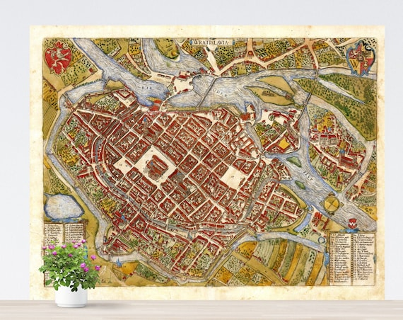 Wroclaw / Breslau 1587 City Map Poster on Paper. Different Sizes. Historical City Map. Vintage City Map. Antique Map. Map Poster. Unframed