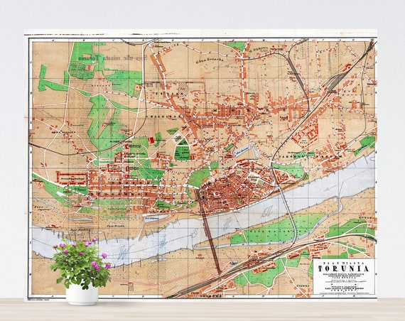 Toruń/ Thorn City Map Poster on Paper 1921. Different Sizes. Poland Historical City Map. Vintage City Map. Antique Map. Toruń, Thorn Map.