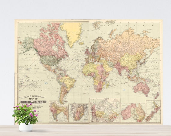 Bohoemian Rainbow Colors World Map Poster on Paper, Vintage World Map, Antique World Map Art, World Map Printed, Poster World Map, Unframed.
