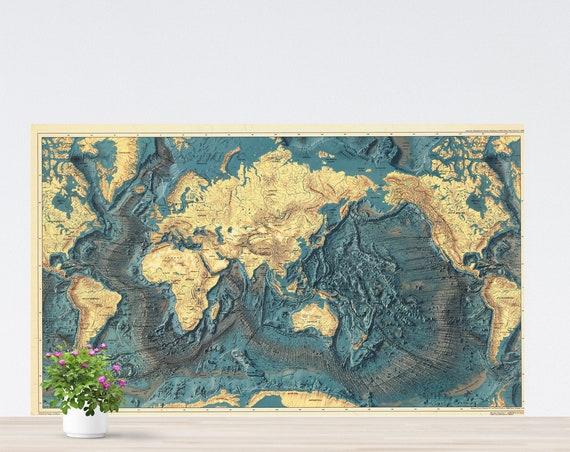 Oceans World Map Poster on Paper, Vintage World Map, World Map on the Wall, Wall Art, World Map Printed on Paper, Poster Map, Unframed