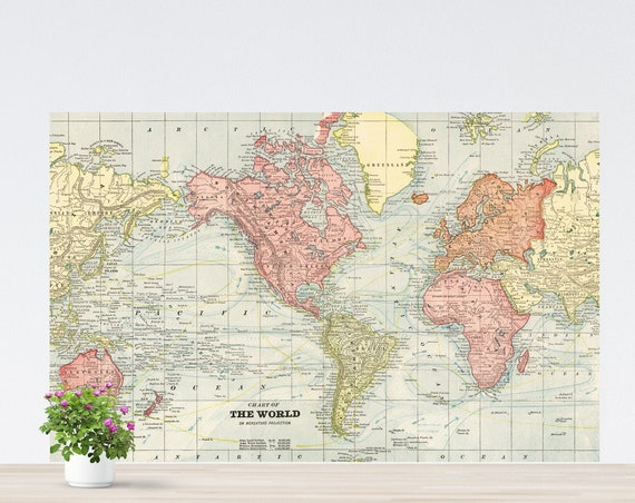 America-Centric Vintage World Map Poster on Paper, AntiqueWorld Map Art, World Map on the Wall, World Map Printed, Unframed Poster Map