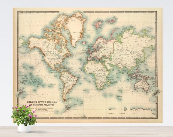 Turquoise Fresh Look Vintage World Map Poster on Paper, Antique World Map, Kind Colors Map, Wall Art, Unframed World Map Printed on Paper