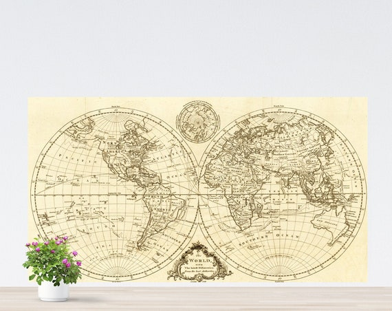 Simple Contour Vintage Unframed World Map on Paper, World Map Art, Two Round Hemispheres World Map Poster Unframed, Continents World Map