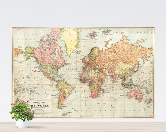 Colorful World Map Art Poster on Paper, Vintage World Map, World Map Printed, Poster World Map Style, The World, Vintage Continents