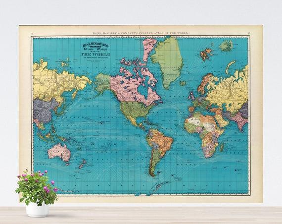 Dark Blue Oceans World Map on Paper, Vintage World Map Art Poster, Lively World Map, Colorful Historical Printed World Map Unframed