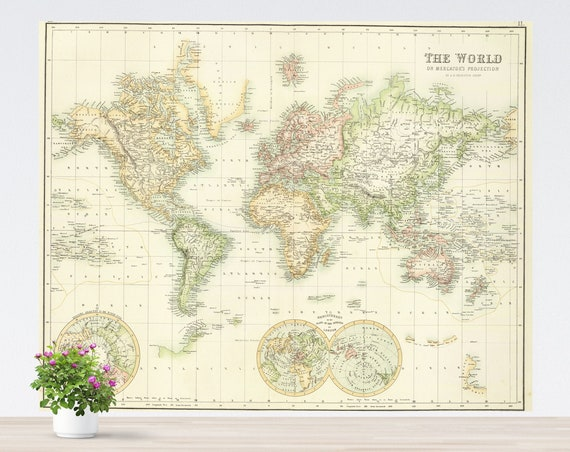 Light Colors World Map Poster on Paper, Vintage World Map, Map Art, Poster Map, Pastel Colors Light Green Yellow Unframed Antique World Map