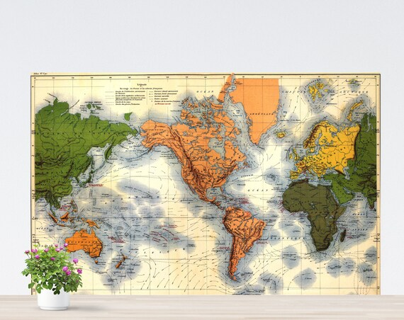 Vintage World Map Poster on Paper, Green Yellow Orange Vintage World Map, World Map Printed on Paper, Unframed Poster World Map
