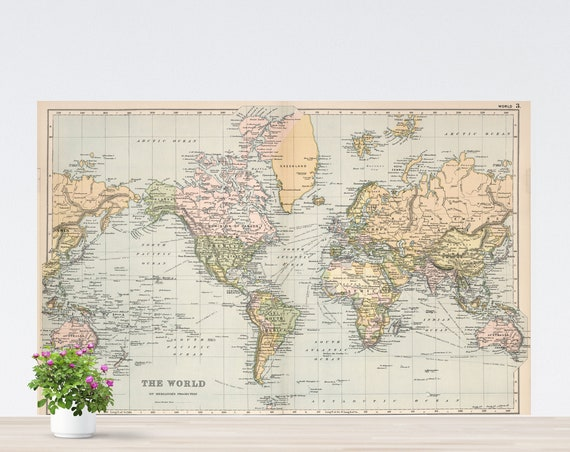 America-Centric Beige World Map on Paper, Vintage Vanilla Pale Color Map Poster, The World, Peaceful Colors, Good Vibes World Map, Unframed