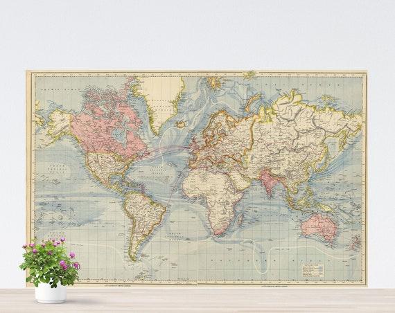 Light Blue Oceans World Map on Paper, Vintage World Map, World Map Art, Wall Art, Pastel Colors World Map Poster