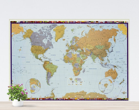 Modern Political Colorful World Map Poster on Paper, Political World Map Art, World Map Printed, Poster World Map, Unframed