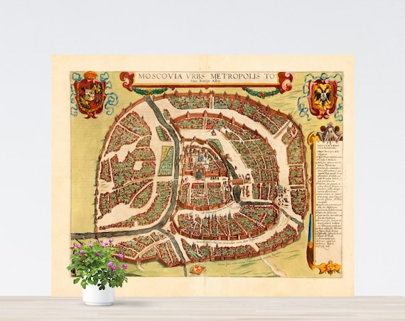 Moscovia 1617 City Map Poster on Paper. Different Sizes. Russia Historical City Map. Vintage City Map. Antique Map. Moscow Vintage Map