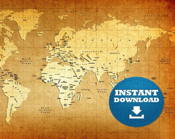 Digital Modern-Vintage Map Printable Download. Vintage Style World Map. Antique Flair World Map JPG Image