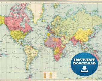 Digital Crystal Clear Vintage World Map, Vintage Green World Map. Music Colors World Map. Antique World Map Art Poster, Printable Download.