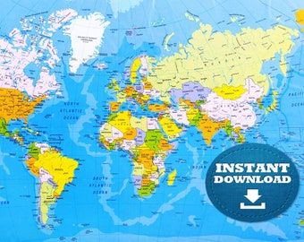 Large Map Of Australia Printable.Digital Modern Political World Map Printable Download Large Etsy