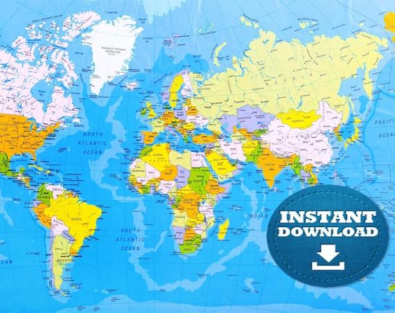 Digital Modern Bright Blue Oceans Political World Map Printable Download. Weltkarte. Poster World Map. Country World Map, School World Map