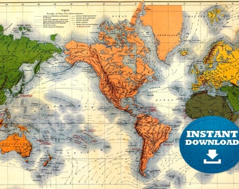 Colorful America Centric Digital Vintage Printable World Map Download. Vintage World Map. Antique World Map, Golden and Green Boho Map.