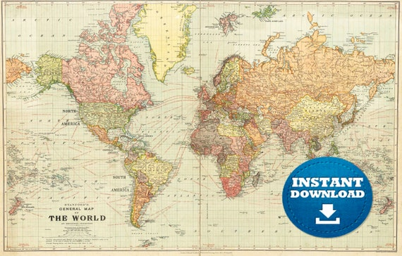 Digital Vintage Flair World Map Art, Printable Download Map, Vintage Style World Map, Boho Map, The World, Antique World Map, Golden Map