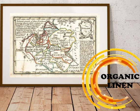 Old Map Poland on Linen 1758. Vintage Map 19 x 28 inch. Vintage Old Map Reprint on Linen. Retro Map. Historical Map. Duchy of Lithuania.