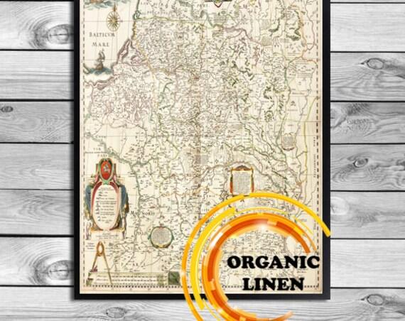Historic Lituanie - Lithuania - Lietuva - Litauen Old Map on Linen 1613. Vintage Radziwill Map Reprint on Linen. Lithuanian Linen Art