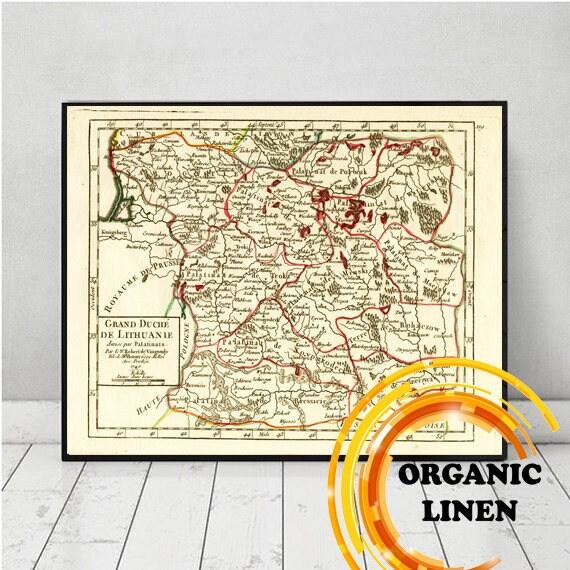 Historical Lituanie - Lithuania - Lietuva - Litauen Antique Map on Linen 1749, Vintage Map on Linen, Grand Duchy, Historical Poland