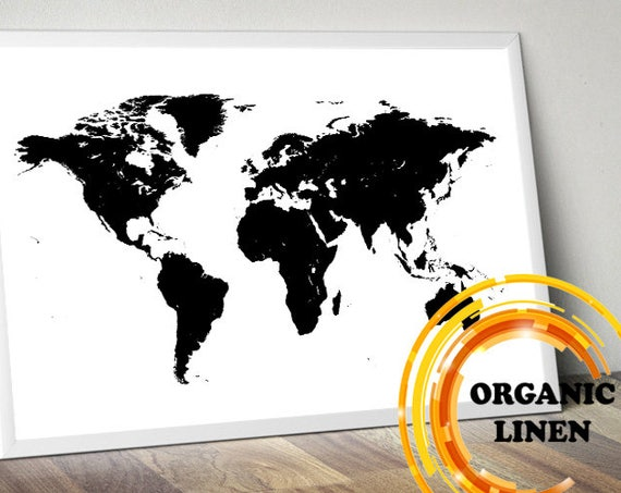 Black and White World Map on Linen. Organic Linen from Lithuania. World Map Wall Art. Poster on Linen. Map on Canvas.Push Pin Map