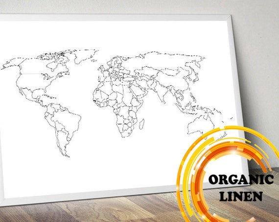 Black and White World Map on Linen. Organic Linen from Lithuania, Belarus. World Map Wall Art. Poster on Linen. Map on Canvas.Push Pin Map