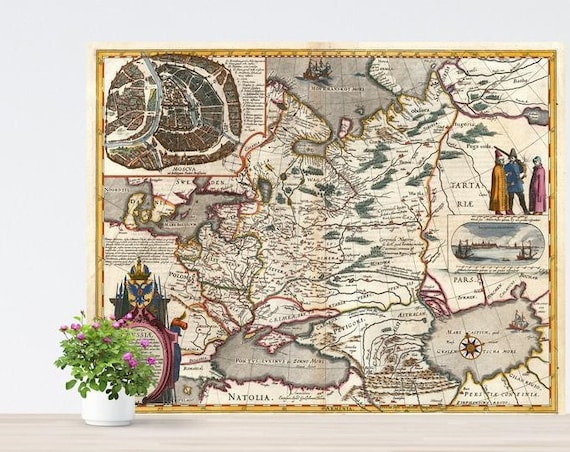 Vintage Map of Russia on Paper 1635. Unframed Historical Map Print. Russland. Russiae. Tartaria. Vintage Poster European Russia Map