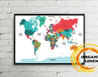 Map reproductions on linen digital world maps by easteuromaps colorful travel world map on linen organic linen from lithuania belarus world map wall art poster on linen map on canvaspush pin map gumiabroncs Choice Image