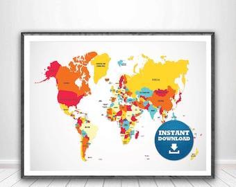 Digital modern political world map printable download large etsy digital modern political world map printable download large world map digital printable maphigh resolution world mapanadastralia gumiabroncs Images