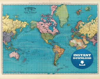 Vintage World Map Etsy - World map poster large download